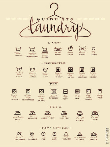 GUIDE TO LAUNDRY CARE ART PRINT (IVORY) BY ANNA SEE