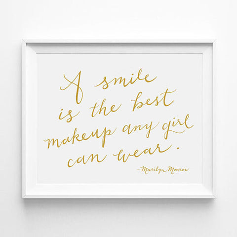 """A SMILE IS THE BEST MAKEUP ANY GIRL CAN WEAR"" - MARILYN MONROE CALLIGRAPHY ART PRINT BY ANNA SEE"
