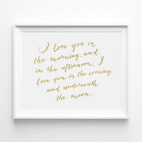 """I LOVE YOU IN THE MORNING AND THE AFTERNOON"" - SKIDAMARKINK SONG CALLIGRAPHY ART PRINT BY ANNA SEE"