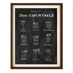 GUIDE TO CLASSIC COCKTAILS ART PRINT (BLACK) BY ANNA SEE