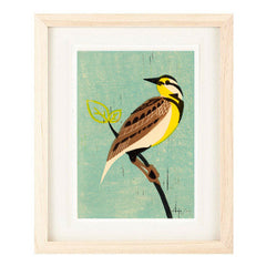 MEADOWLARK HAND-CARVED LINOCUT ILLUSTRATION ART PRINT BY ANNA SEE