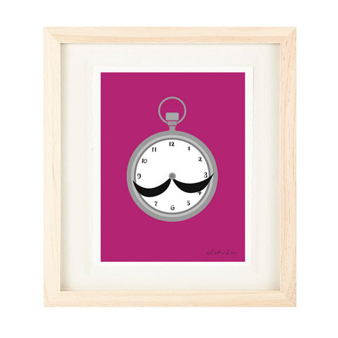 MUSTACHE CLOCK PRINT BY NICK LU