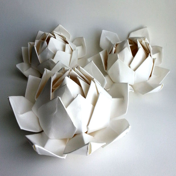 HANDMADE COTTON PAPER SUCCULENT, WHITE LOTUS FLOWER, PERFECT FOR WEDDING CENTERPIECES, FAVORS, ELEGANT DECOR, HANDMADE BY ANNA SEE