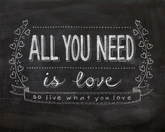 """ALL YOU NEED IS LOVE"" CHALKBOARD TYPOGRAPHY ART PRINT BY ANNA SEE"
