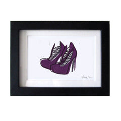 BRIAN ATWOOD LOLA SHOES HAND-CARVED LINOCUT ILLUSTRATION ART PRINT BY ANNA SEE