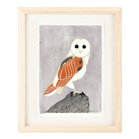 BARN OWL HAND-CARVED LINOCUT ILLUSTRATION ART PRINT BY ANNA SEE