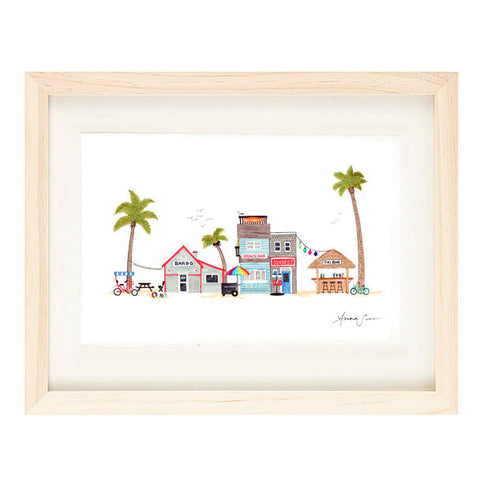 BEACH TOWN ILLUSTRATION GICLEE ART PRINT BY ANNA SEE
