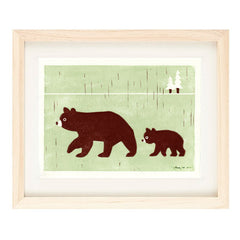 BEARS HAND-CARVED LINOCUT ILLUSTRATION ART PRINT BY ANNA SEE