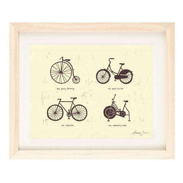 BIKE TYPES ILLUSTRATION GICLEE ART PRINT BY ANNA SEE