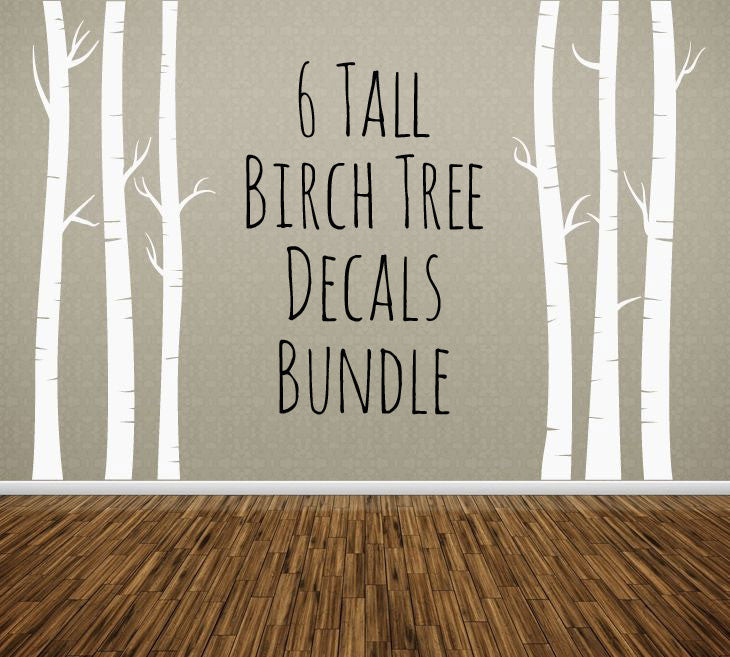 NURSERY TREE WALL DECAL, Birch Trees Bundle Of 6, Removable Vinyl Wall  Sticker