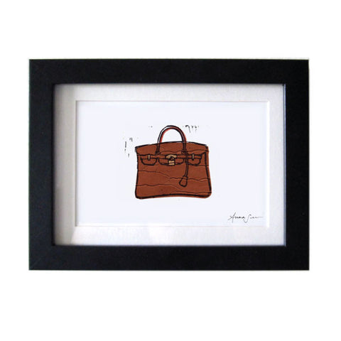 HERMES BIRKIN BAG HAND-CARVED LINOCUT ILLUSTRATION ART PRINT BY ANNA SEE