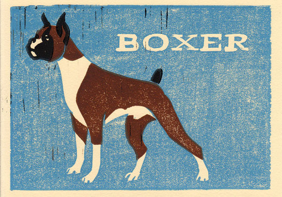 BOXER HAND-CARVED LINOCUT ILLUSTRATION ART PRINT BY ANNA SEE