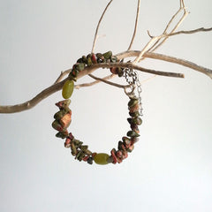 "BRACELET: NATURAL UNAKITE GEMSTONE BRACELET, 8 3/8"", 18K WHITE GOLD, HANDMADE AND AVAILABLE EXCLUSIVELY AT ANNA SEE"