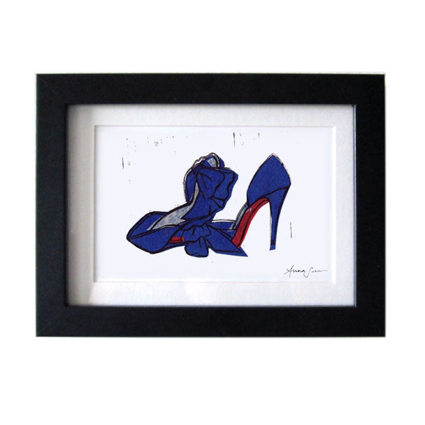 CHRISTIAN LOUBOUTIN T DORCET SHOES HAND-CARVED LINOCUT ILLUSTRATION ART PRINT BY ANNA SEE
