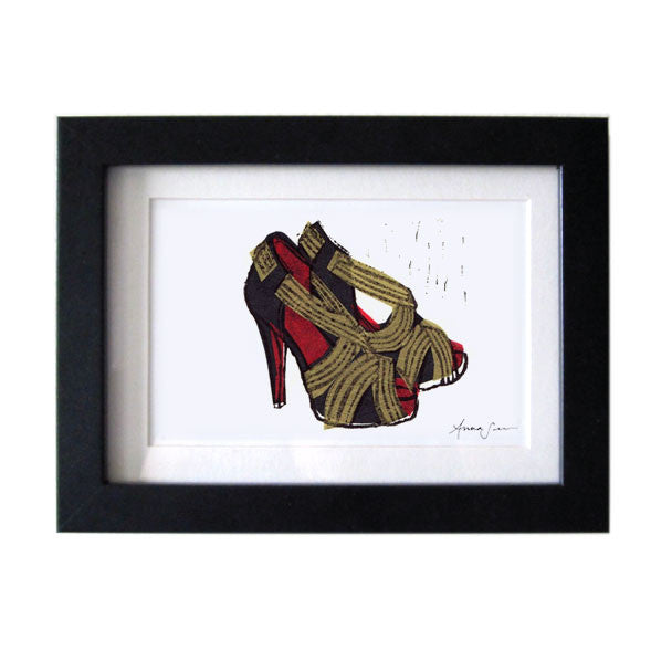 CHRISTIAN LOUBOUTIN JOSEFA SHOES HAND-CARVED LINOCUT ILLUSTRATION ART PRINT BY ANNA SEE