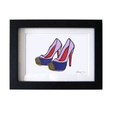CHRISTIAN LOUBOUTIN MAGGIE SHOES HAND-CARVED LINOCUT ILLUSTRATION ART PRINT BY ANNA SEE
