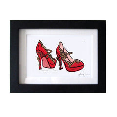 MIU MIU TEACUP MARY JANE PUMPS HAND-CARVED LINOCUT ILLUSTRATION ART PRINT BY ANNA SEE