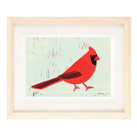 CARDINAL HAND-CARVED LINOCUT ILLUSTRATION ART PRINT BY ANNA SEE