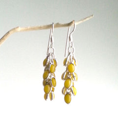 EARRINGS: STATEMENT GRAPE YELLOW CITRINE QUARTZ GLASS DANGLE EARRINGS, .925 STERLING SILVER PLATED, HANDMADE AND AVAILABLE EXCLUSIVELY AT ANNA SEE