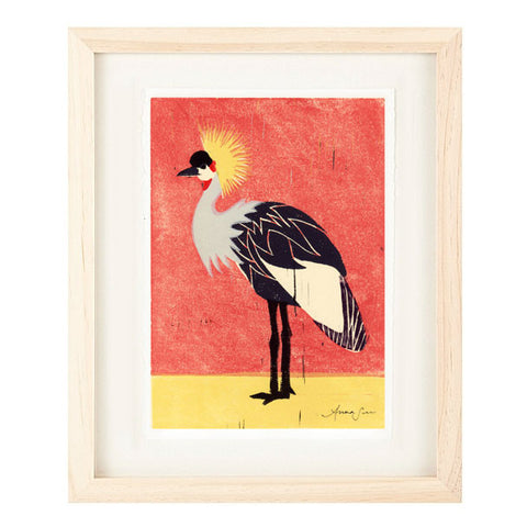 AFRICAN CROWNED CRANE HAND-CARVED LINOCUT ILLUSTRATION ART PRINT BY ANNA SEE