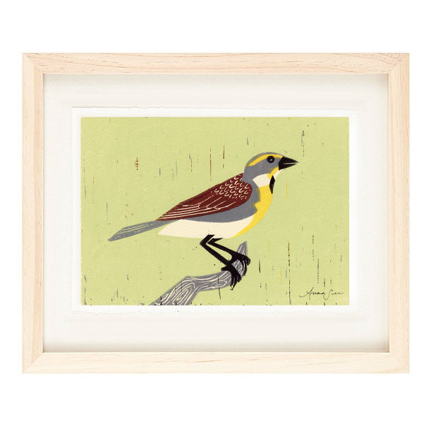 DICKCISSEL HAND-CARVED LINOCUT ILLUSTRATION ART PRINT BY ANNA SEE
