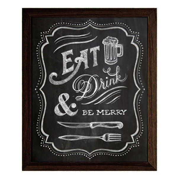 """EAT, DRINK & BE MERRY"" CHALKBOARD TYPOGRAPHY ILLUSTRATION GICLEE ART PRINT BY ANNA SEE"