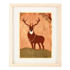 ELK HAND-CARVED LINOCUT ILLUSTRATION ART PRINT BY ANNA SEE