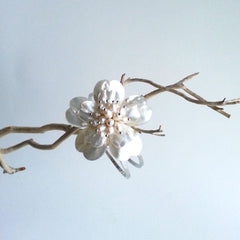 "BRACELET: NATURAL SHELL PEARL FLOWER CUFF BRACELET, 8 5/8"", 18K WHITE GOLD, HANDMADE AND AVAILABLE EXCLUSIVELY AT ANNA SEE"