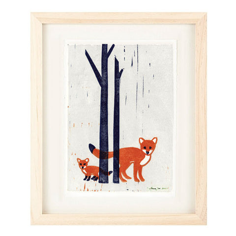 FOXES HAND-CARVED LINOCUT ILLUSTRATION ART PRINT BY ANNA SEE