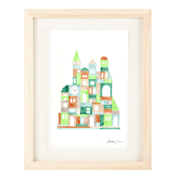 COLORFUL GEOMETRIC BUILDINGS ILLUSTRATION GICLEE ART PRINT BY ANNA SEE