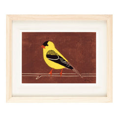 AMERICAN GOLDFINCH HAND-CARVED LINOCUT ILLUSTRATION ART PRINT BY ANNA SEE