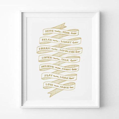 TYPOGRAPHY ART PRINT IN GOLD BY ANNA SEE