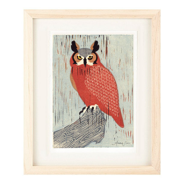 GREAT HORNED OWL HAND-CARVED LINOCUT ILLUSTRATION ART PRINT BY ANNA SEE