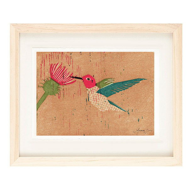 ANNA'S HUMMINGBIRD HAND-CARVED LINOCUT ILLUSTRATION ART PRINT BY ANNA SEE