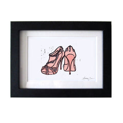 JIMMY CHOO QUINZE PEEP TOE BOOTIES HAND-CARVED LINOCUT ILLUSTRATION ART PRINT BY ANNA SEE