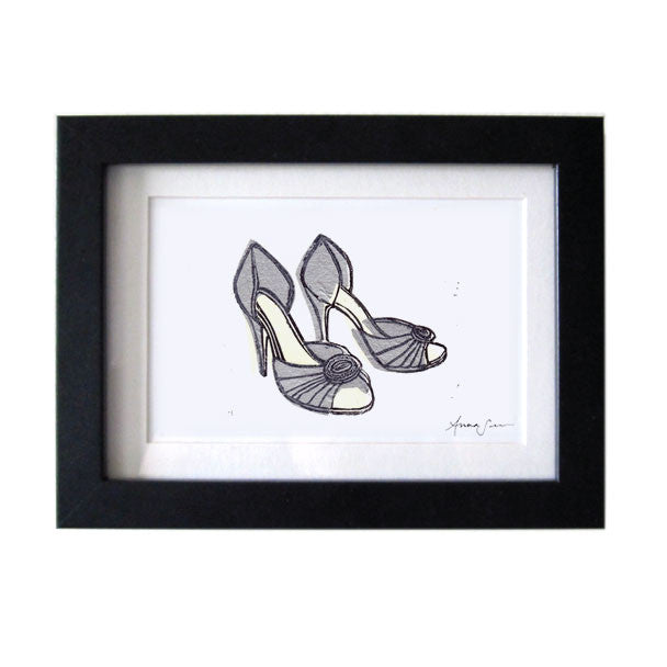 MANOLO BLAHNIK D'ORSAY SHOES HAND-CARVED LINOCUT ILLUSTRATION ART PRINT BY ANNA SEE