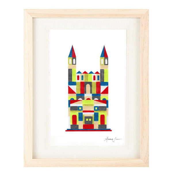 COLORFUL MEDIEVAL CASTLE ILLUSTRATION GICLEE ART PRINT BY ANNA SEE