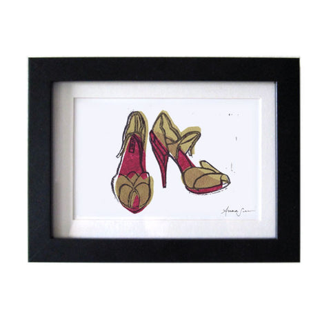MIU MIU SHOES HAND-CARVED LINOCUT ILLUSTRATION ART PRINT BY ANNA SEE