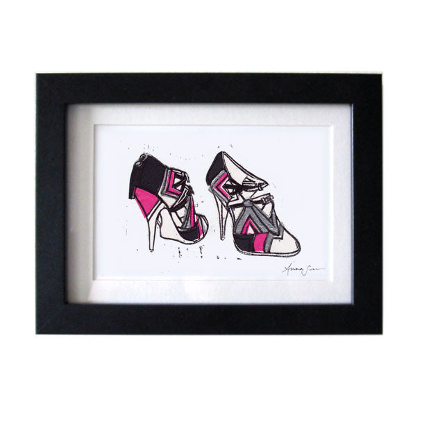 MIU MIU GEOMETRIC RUNWAY HEELS HAND-CARVED LINOCUT ILLUSTRATION ART PRINT BY ANNA SEE