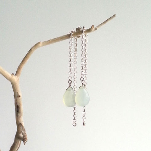 EARRINGS: ELEGANT NATURAL PREHNITE DROP EARRINGS, SOLID .925 STERLING SILVER, HANDMADE AND AVAILABLE EXCLUSIVELY AT ANNA SEE