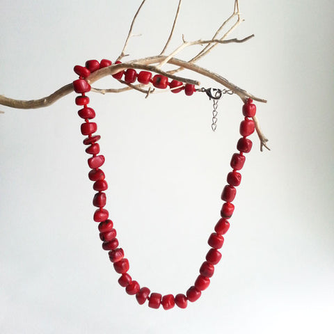 "NECKLACE: NATURAL SEA RED CORAL BEAD, GRADE AAA, ADJUSTABLE 17 3/4""-19 1/2"", HANDMADE AND AVAILABLE EXCLUSIVELY AT ANNA SEE"
