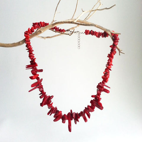 "NECKLACE: NATURAL SEA RED CORAL, GRADE AAA, 16 1/3"", HANDMADE AND AVAILABLE EXCLUSIVELY AT ANNA SEE"
