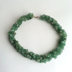 "NECKLACE: NATURAL GREEN AVENTURINE PEARL NECKLACE, 17 1/2"", 18K WHITE GOLD CLASP, HANDMADE AND AVAILABLE EXCLUSIVELY AT ANNA SEE"