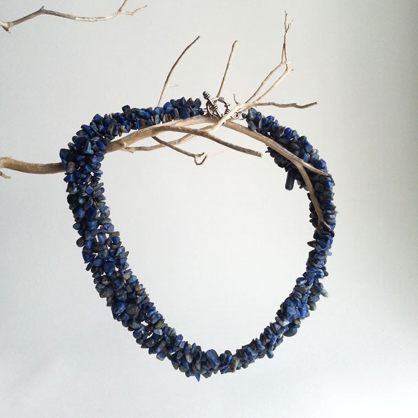 "NECKLACE: NATURAL BLUE LAPIS LAZULI GEMSTONE CHIP NECKLACE, 18 1/3"", 18K WHITE GOLD CLASP, HANDMADE AND AVAILABLE EXCLUSIVELY AT ANNA SEE"