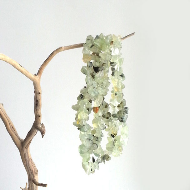 "NECKLACE: VERSATILE NATURAL PREHNITE NECKLACE OR BRACELET, 35"", HANDMADE AND AVAILABLE EXCLUSIVELY AT ANNA SEE"