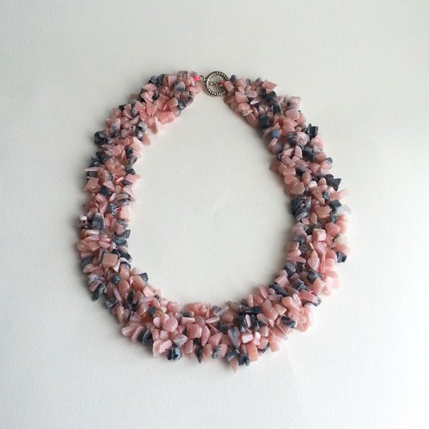 "NECKLACE: NATURAL PINK RHODONITE GEMSTONE CHIP NECKLACE, 18 1/3"", 18K WHITE GOLD CLASP, HANDMADE AND AVAILABLE EXCLUSIVELY AT ANNA SEE"