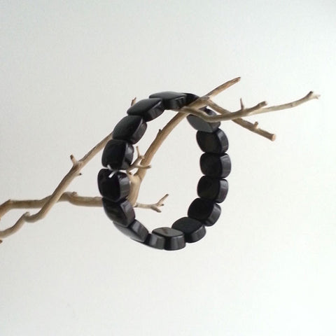 "BRACELET: BLACK ONYX GEMSTONE BRACELET, 7"", HANDMADE AND AVAILABLE EXCLUSIVELY AT ANNA SEE"