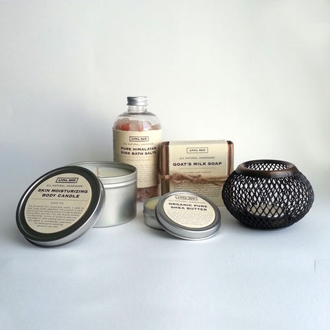 ANNA SEE ART + ALL NATURAL BODY CARE PAMPER PACKAGE, GIFT SET, SPA SET, HANDMADE EXCLUSIVELY FOR ANNA SEE