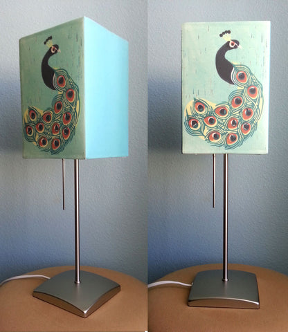 ILLUMINATED PEACOCK COMPLETE LAMP BY ANNA SEE