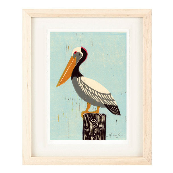 PELICAN HAND-CARVED LINOCUT ILLUSTRATION ART PRINT BY ANNA SEE